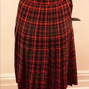 Authentic red and black wool plaid kilt skirt made in Scotland by Strathmore of Forfar